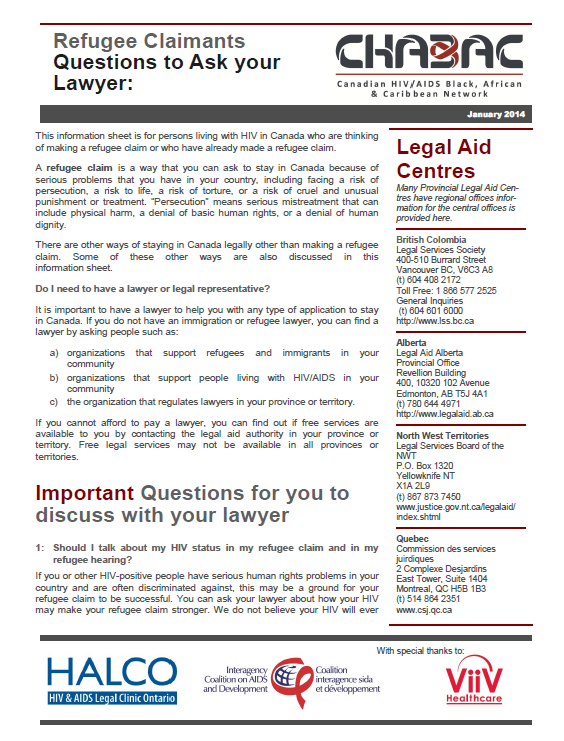Questions to Ask Your Lawyer: Refugee Claimants