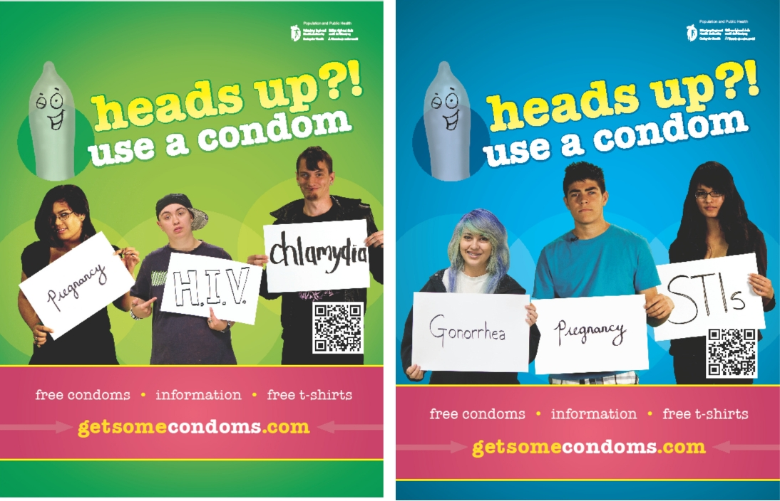 heads up?! and enjeu?! condom promotion campaign materials