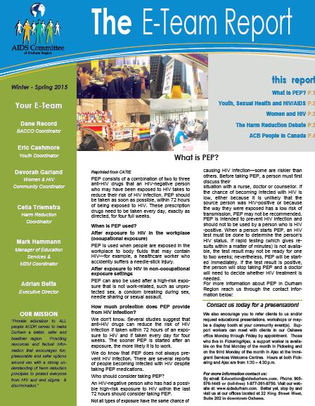 E-Team Report 2015 Winter/Spring newsletter