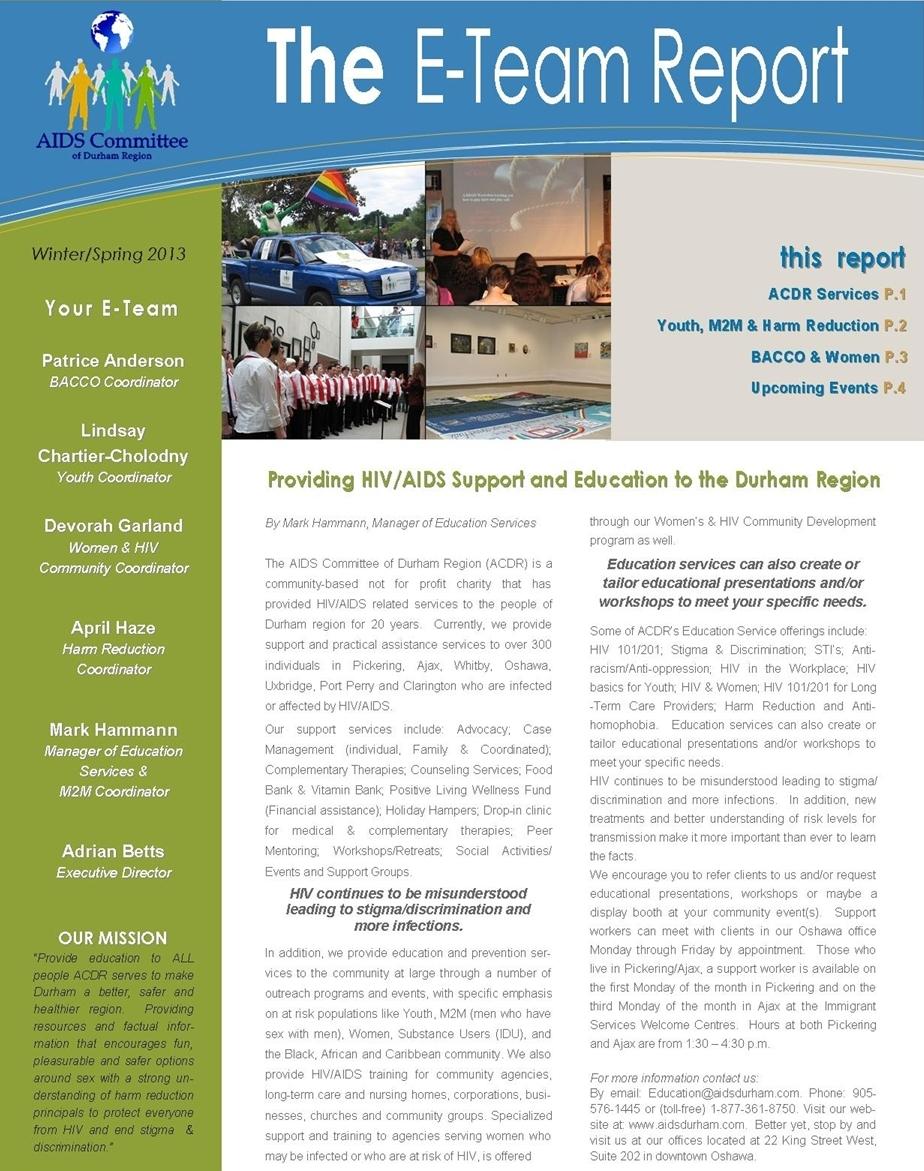 E-Team Report 2013 Winter/Spring newsletter