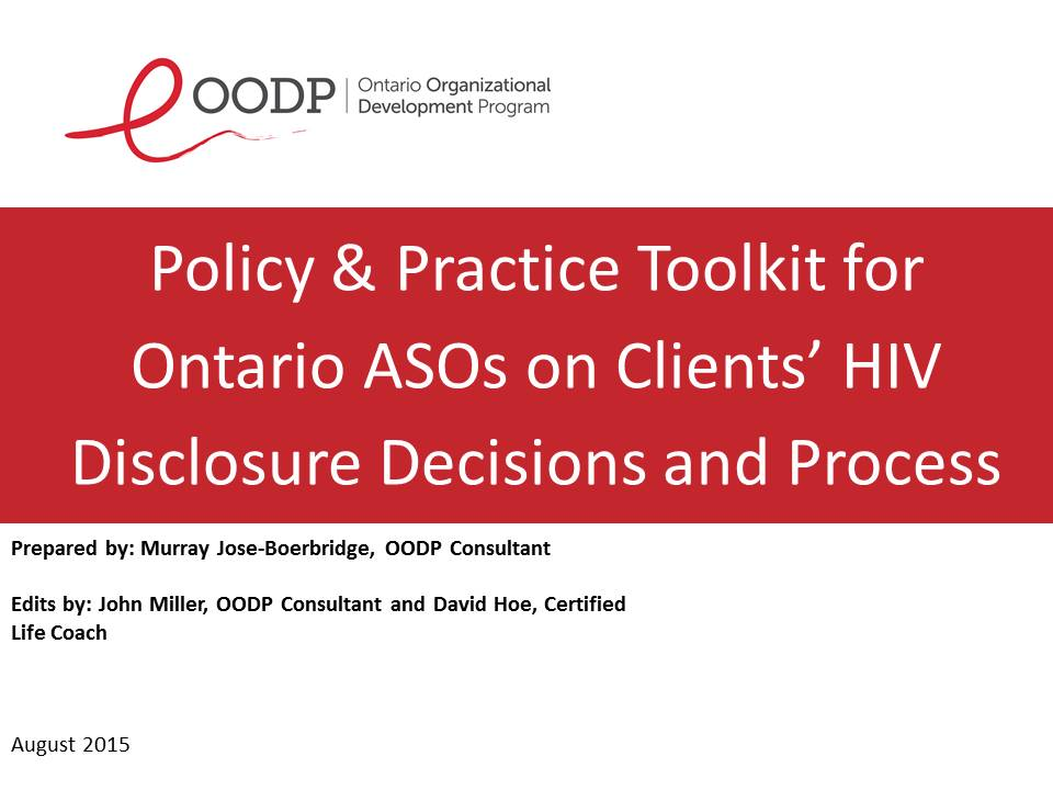 OODP HIV Disclosure Policy Toolkit