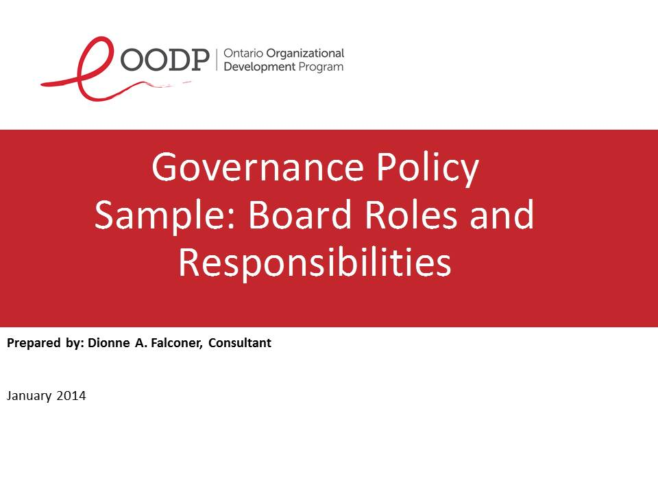 OODP Governance Board Roles and Responsibilities Resource