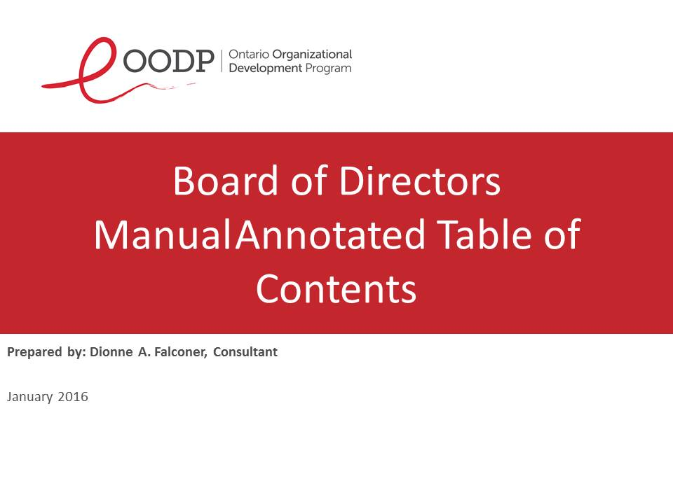 OODP Board Manual Annotated Table of Contents