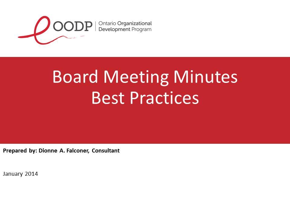 OODP Board Meeting Minutes Best Practices