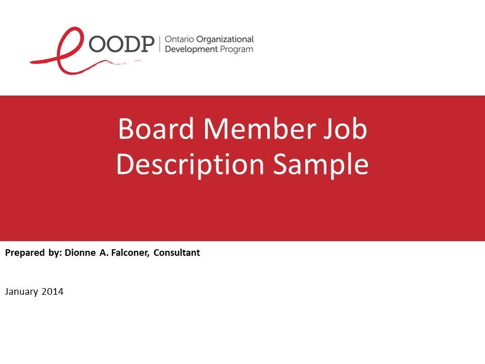 OODP Board Member Job Description Sample