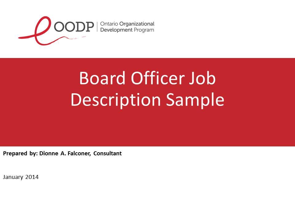OODP Board Officer Job Description Sample
