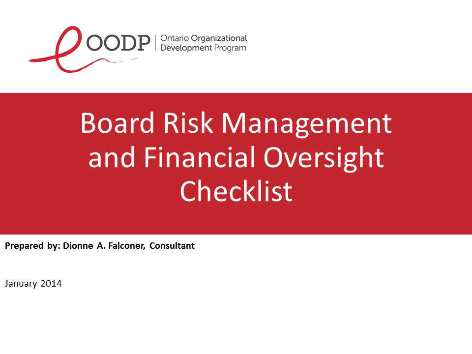OODP Board Risk Management and Financial Oversight Checklist Sample