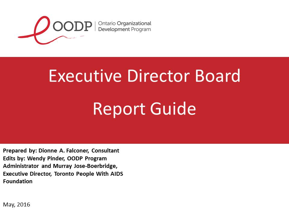 OODP Executive Director Board Report Guide