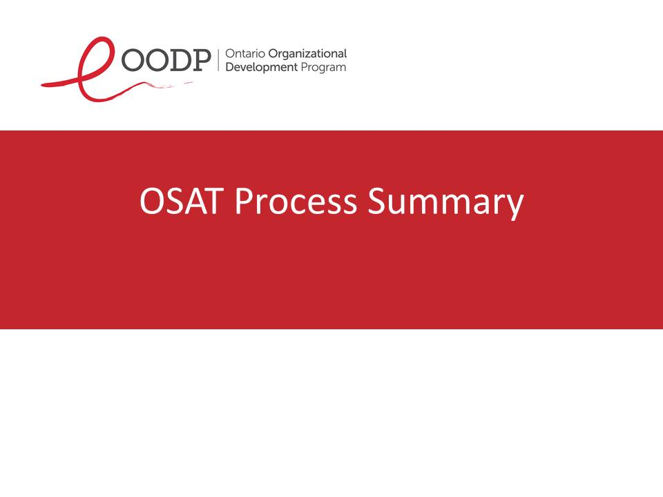 OODP Org-Self-Assessment Tool Process Summary
