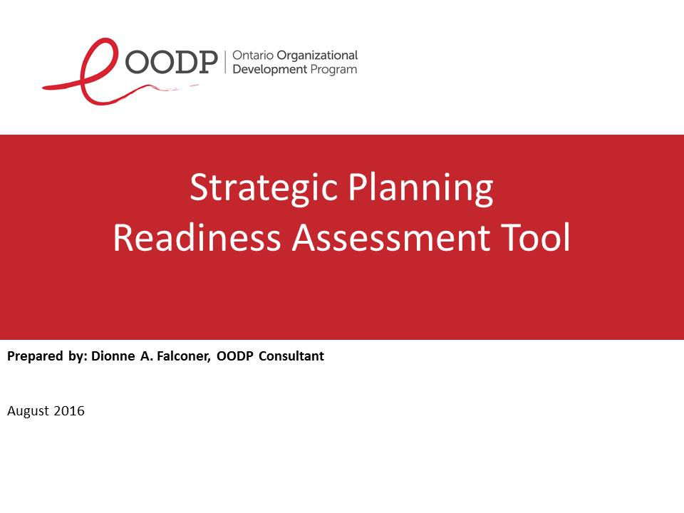 OODP Strategic Planning Readiness Assessment Tool